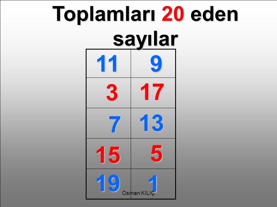 Toplamları 20 eden sayılar