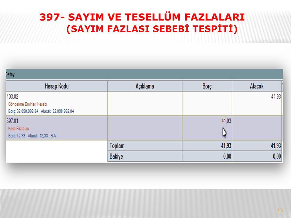 397- SAYIM VE TESELLÜM FAZLALARI (SAYIM FAZLASI SEBEBİ TESPİTİ)