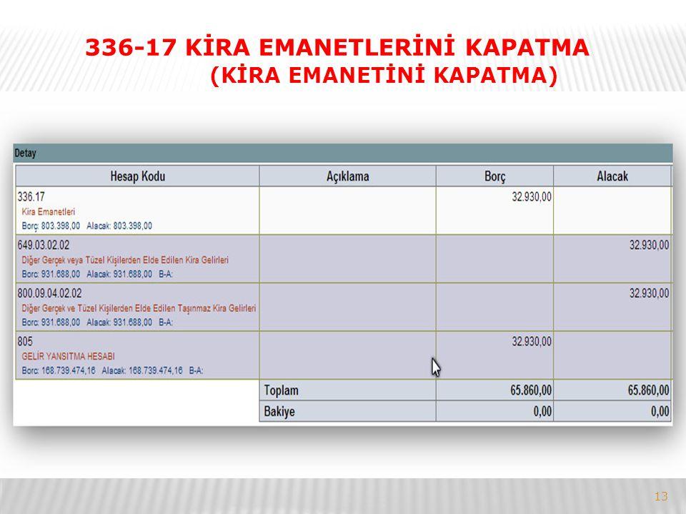 336-17 KİRA EMANETLERİNİ KAPATMA (KİRA EMANETİNİ KAPATMA)