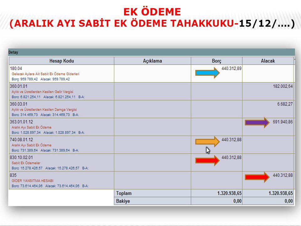 (ARALIK AYI SABİT EK ÖDEME TAHAKKUKU-15/12/….)