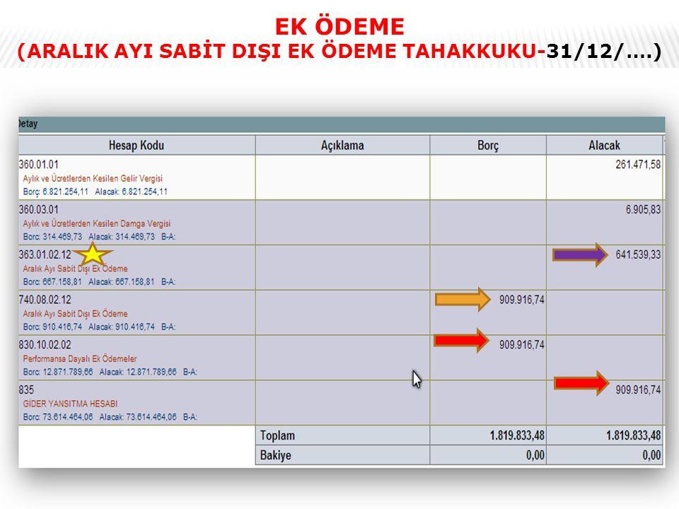 (ARALIK AYI SABİT DIŞI EK ÖDEME TAHAKKUKU-31/12/….)