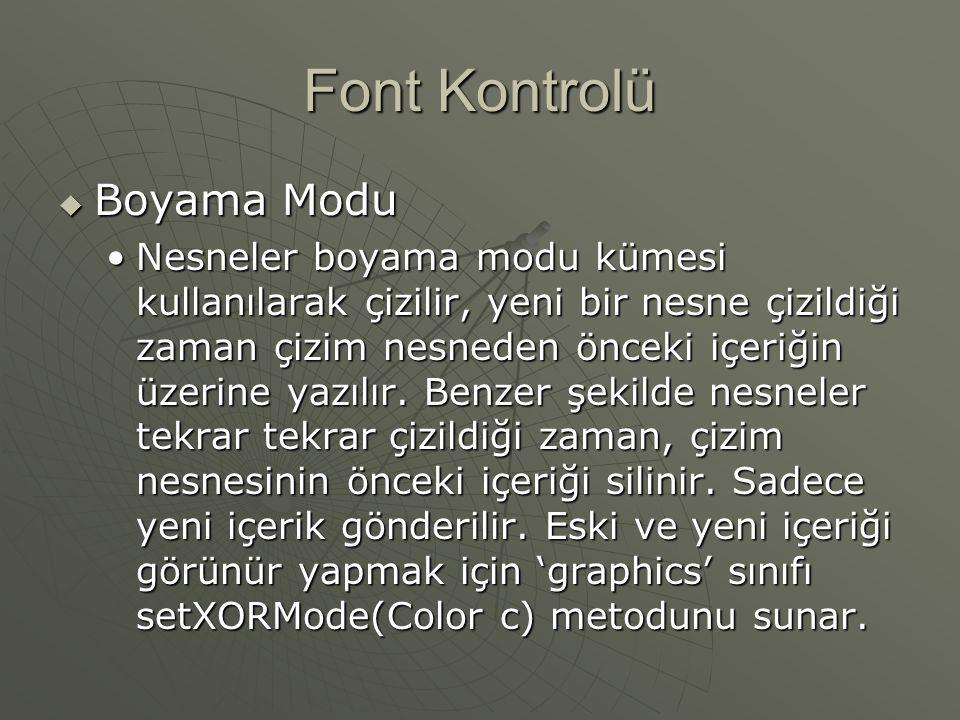 Font Kontrolü Boyama Modu