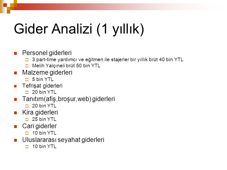 Gider Analizi (1 yıllık)
