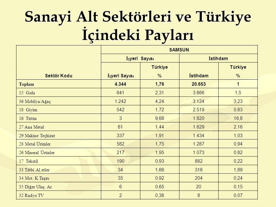 Sanayi Alt Sektörleri ve Türkiye İçindeki Payları