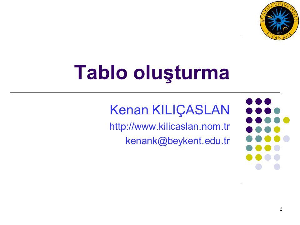 Kenan KILIÇASLAN http://www.kilicaslan.nom.tr kenank@beykent.edu.tr