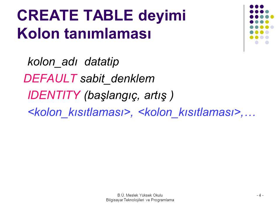 CREATE TABLE deyimi Kolon tanımlaması