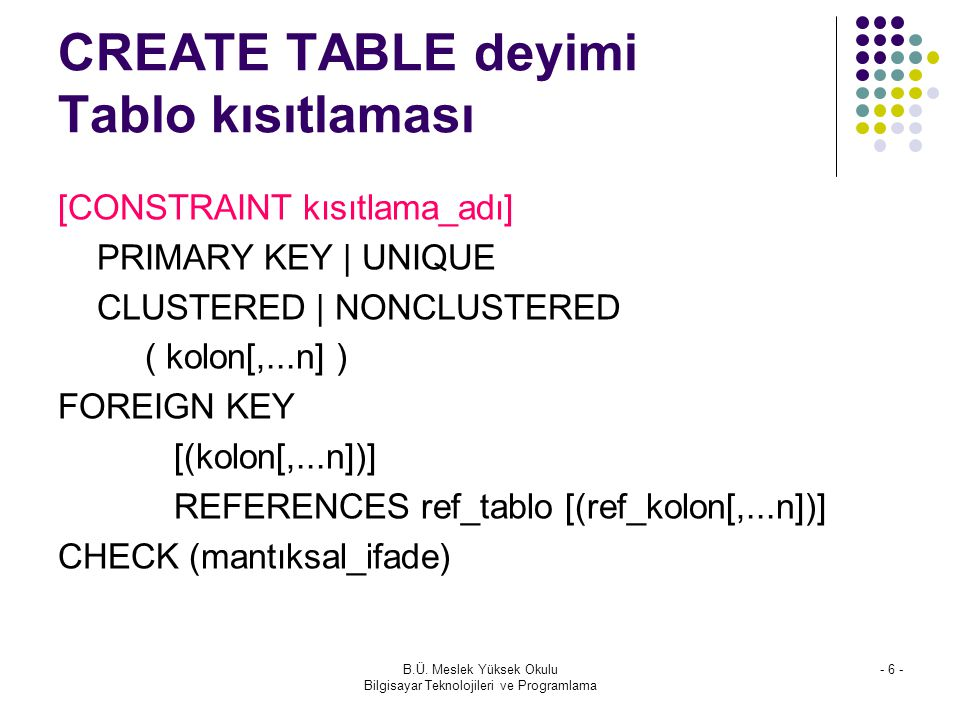 CREATE TABLE deyimi Tablo kısıtlaması