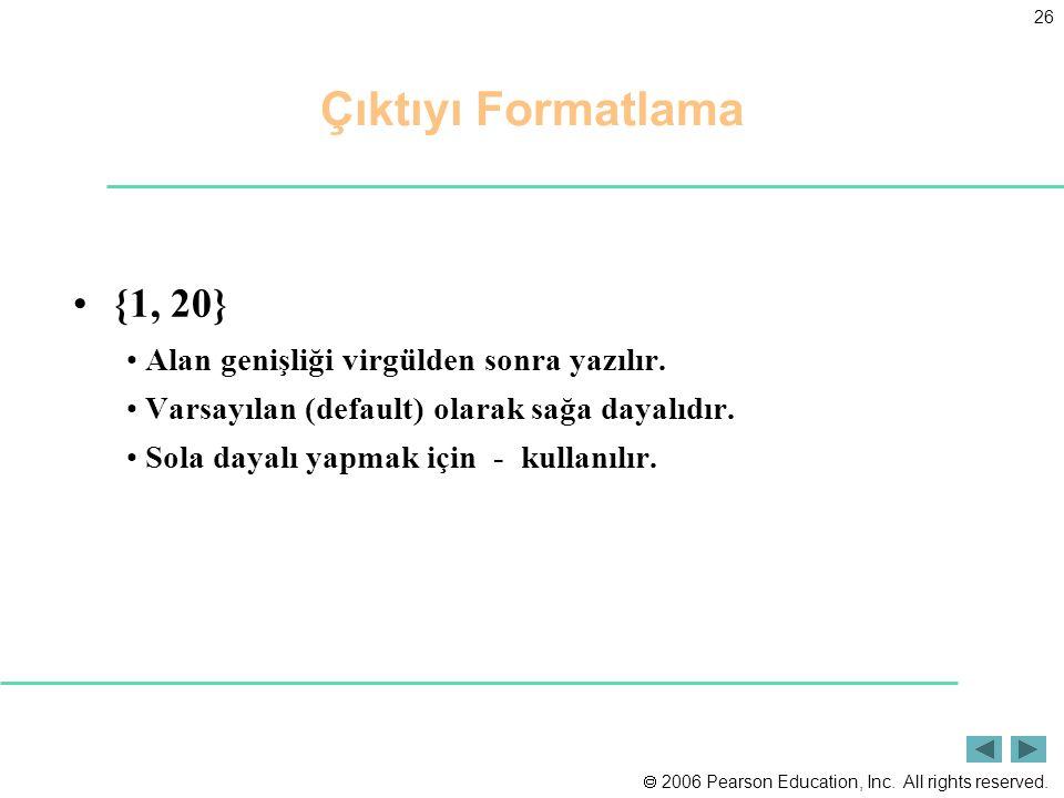 Çıktıyı Formatlama {1, 20} Alan genişliği virgülden sonra yazılır.