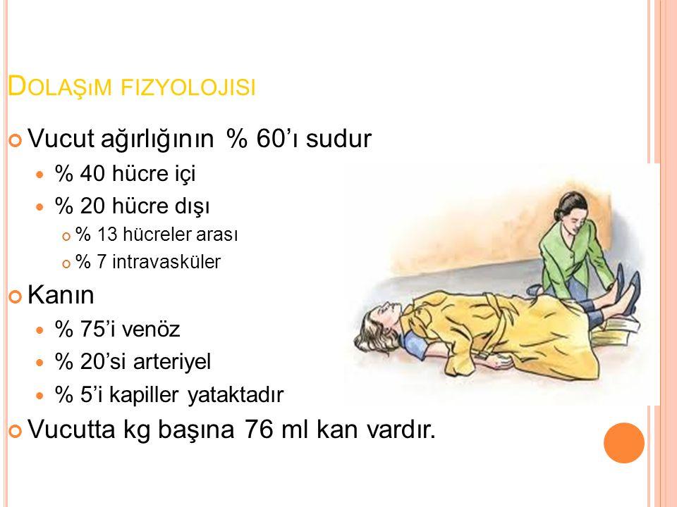 Dolaşım fizyolojisi Vucut ağırlığının % 60'ı sudur Kanın