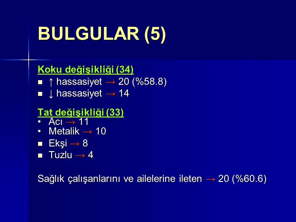BULGULAR (5) Koku değişikliği (34) ↑ hassasiyet → 20 (%58.8)