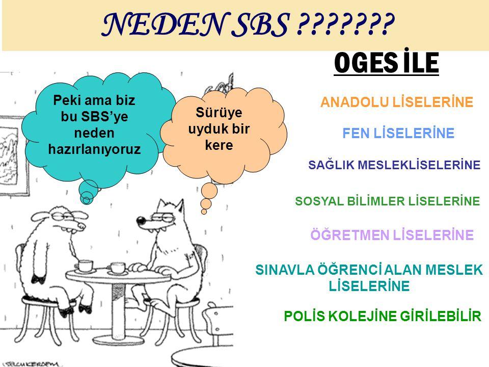 NEDEN SBS OGES İLE Peki ama biz bu SBS'ye neden hazırlanıyoruz