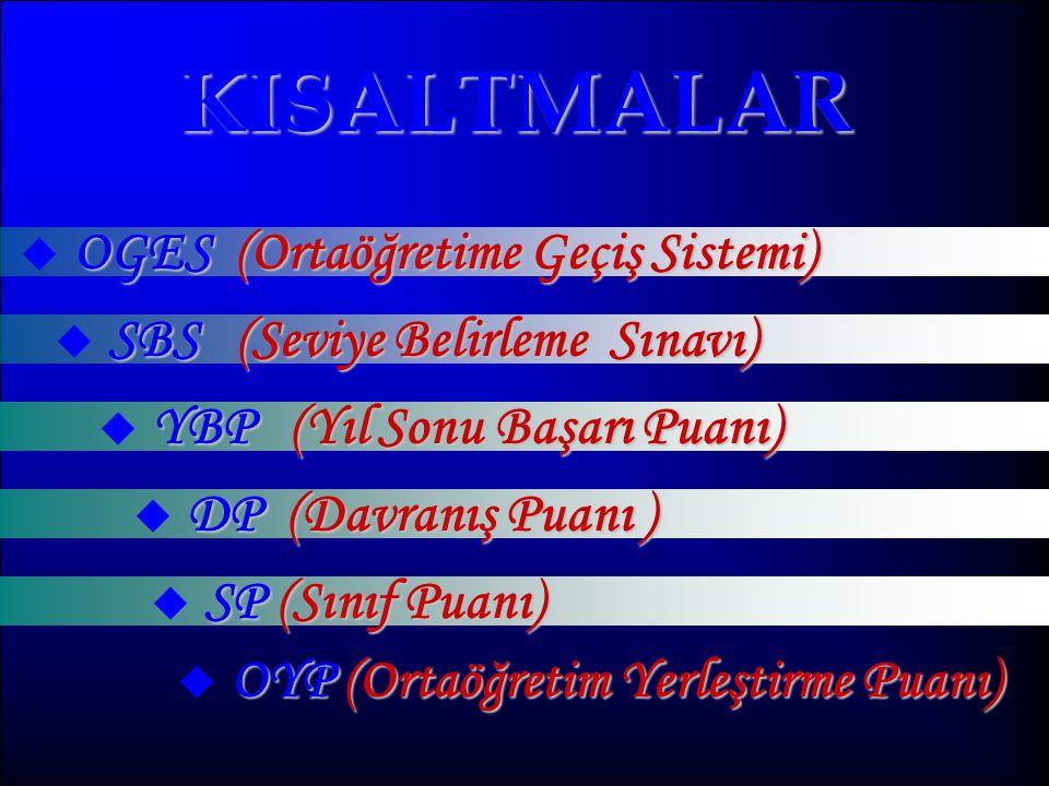 KISALTMALAR OGES (Ortaöğretime Geçiş Sistemi)