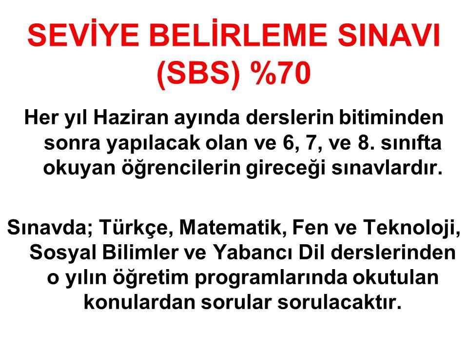 SEVİYE BELİRLEME SINAVI (SBS) %70