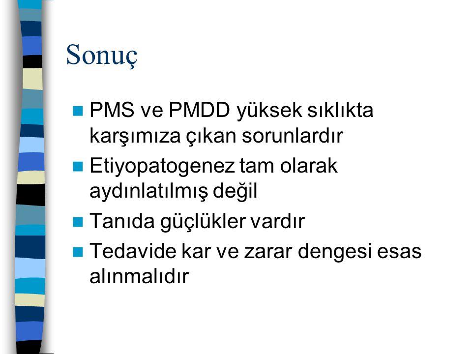 Sonuç PMS ve PMDD yüksek sıklıkta karşımıza çıkan sorunlardır