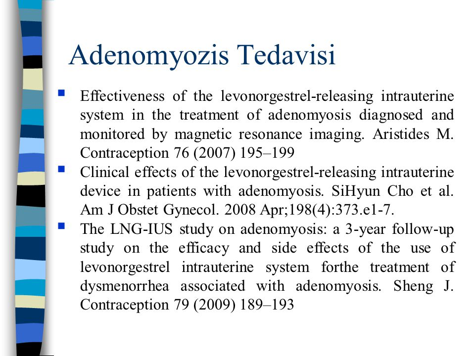 Adenomyozis Tedavisi