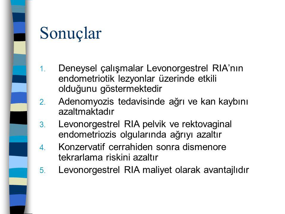 Sonuçlar Deneysel çalışmalar Levonorgestrel RIA'nın endometriotik lezyonlar üzerinde etkili olduğunu göstermektedir.