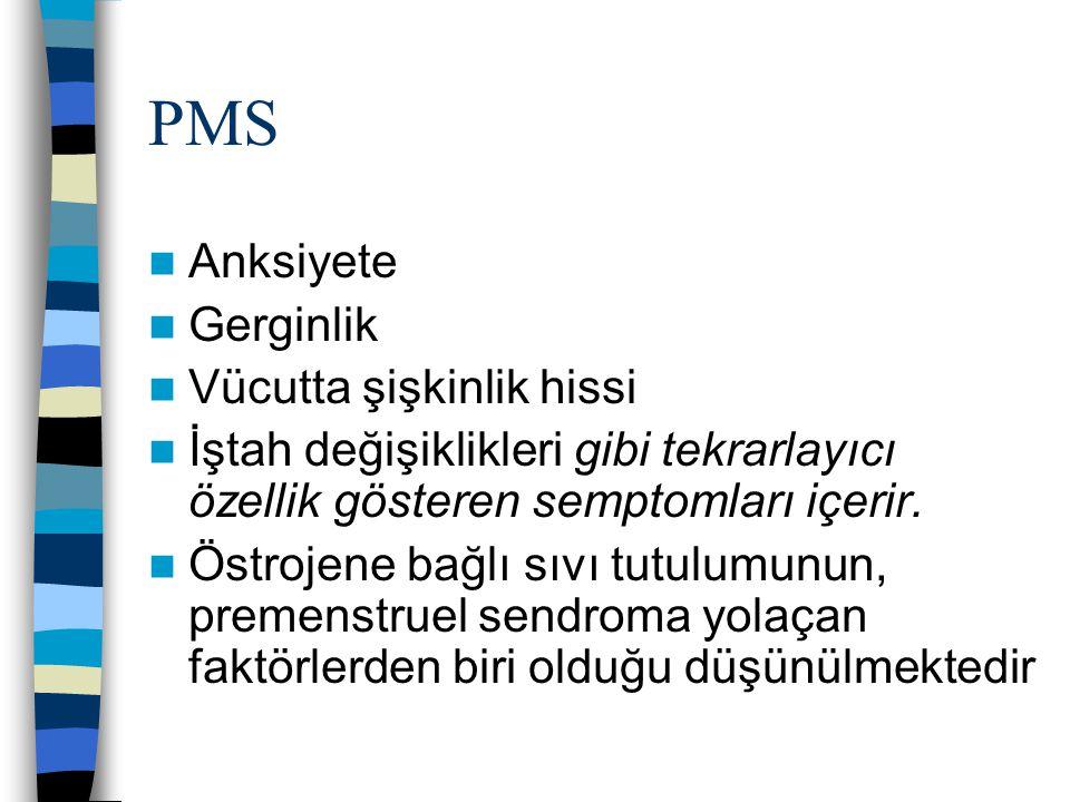 PMS Anksiyete Gerginlik Vücutta şişkinlik hissi