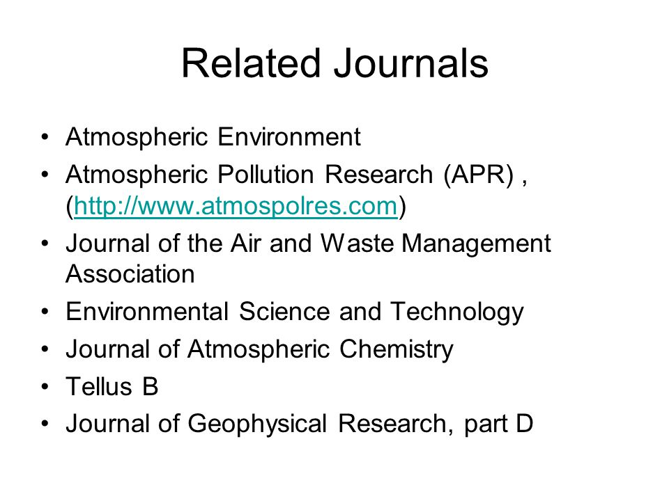 Related Journals Atmospheric Environment