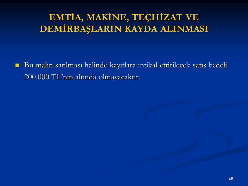 EMTİA, MAKİNE, TEÇHİZAT VE DEMİRBAŞLARIN KAYDA ALINMASI