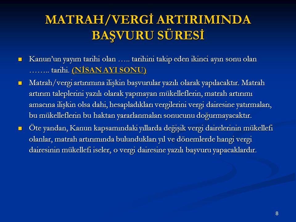 MATRAH/VERGİ ARTIRIMINDA BAŞVURU SÜRESİ