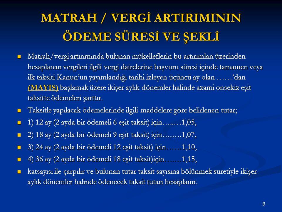 MATRAH / VERGİ ARTIRIMININ ÖDEME SÜRESİ VE ŞEKLİ