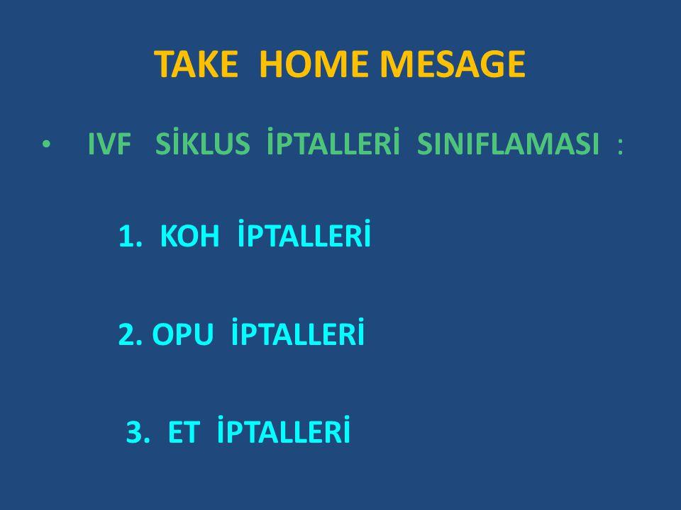 TAKE HOME MESAGE 1. KOH İPTALLERİ 2. OPU İPTALLERİ 3. ET İPTALLERİ