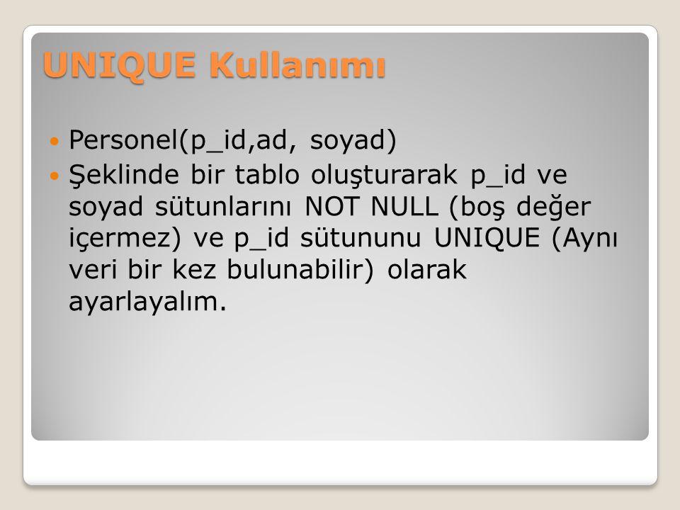 UNIQUE Kullanımı Personel(p_id,ad, soyad)