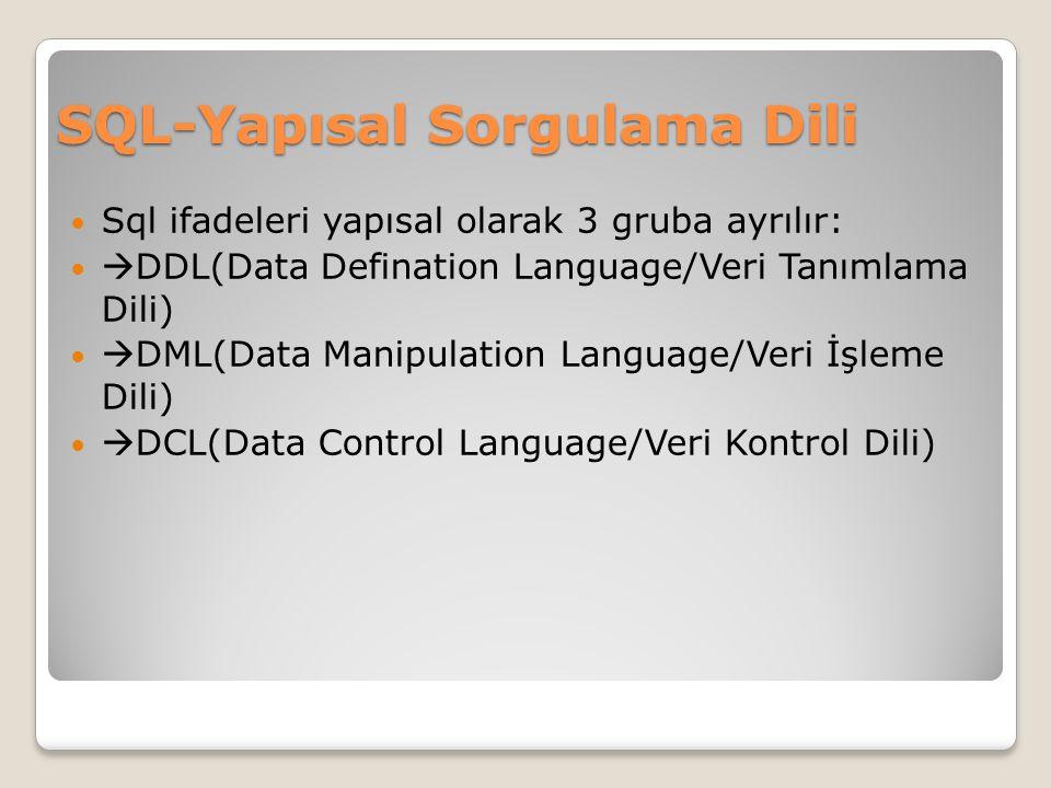 SQL-Yapısal Sorgulama Dili