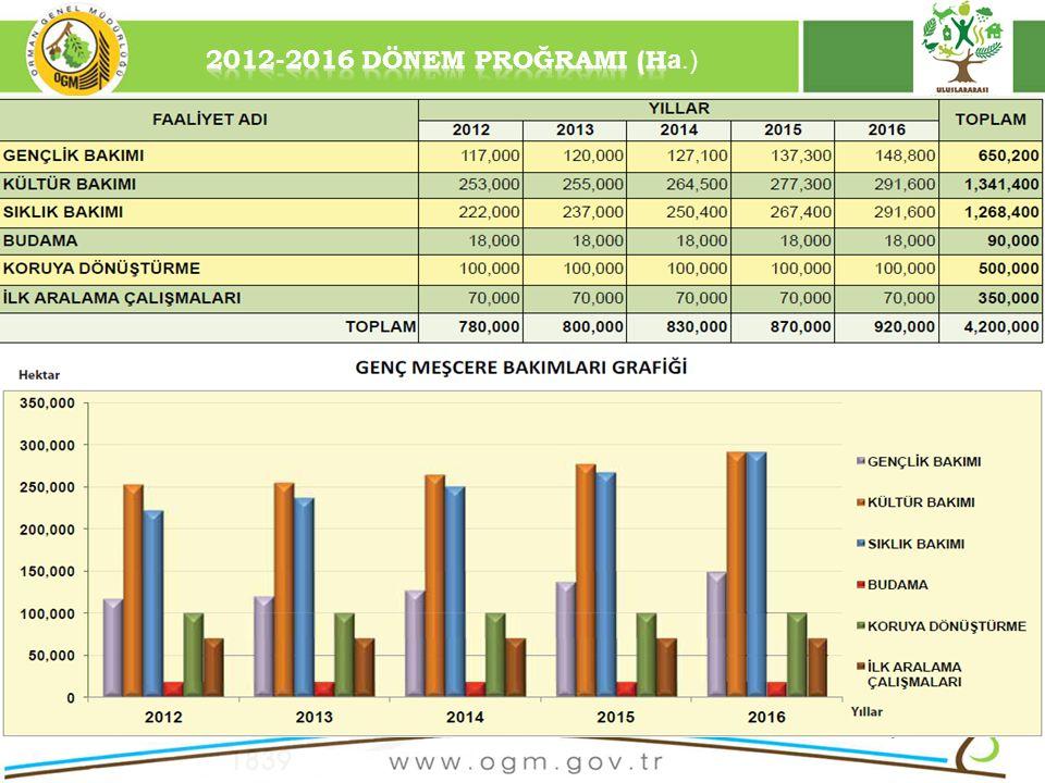 2012-2016 DÖNEM PROĞRAMI (Ha.)