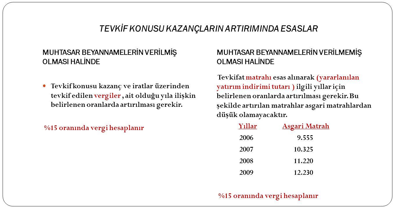 TEVKİF KONUSU KAZANÇLARIN ARTIRIMINDA ESASLAR