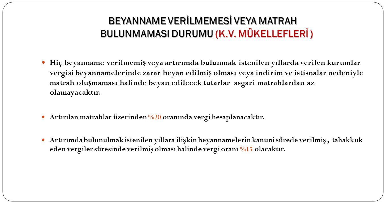 BEYANNAME VERİLMEMESİ VEYA MATRAH BULUNMAMASI DURUMU (K. V