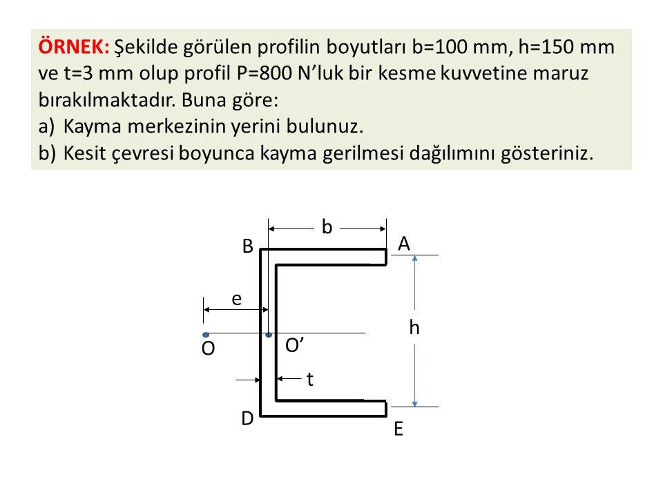 ÖRNEK: Şekilde görülen profilin boyutları b=100 mm, h=150 mm ve t=3 mm olup profil P=800 N'luk bir kesme kuvvetine maruz bırakılmaktadır. Buna göre: