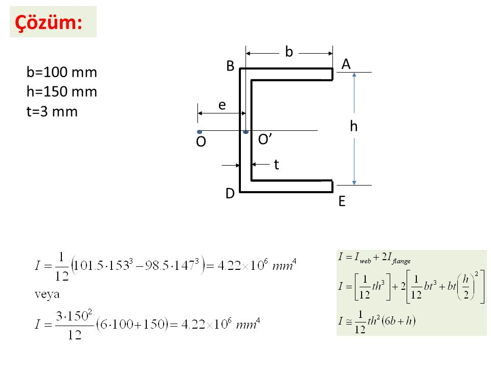Çözüm: e b h t O O' A B D E b=100 mm h=150 mm t=3 mm