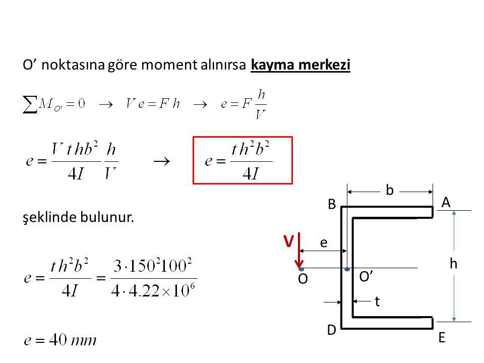 V O' noktasına göre moment alınırsa kayma merkezi b A B