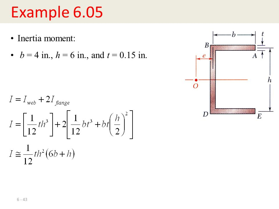 Example 6.05 Inertia moment: b = 4 in., h = 6 in., and t = 0.15 in.