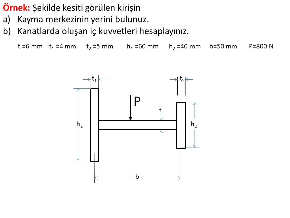t =6 mm t1 =4 mm t2 =5 mm h1 =60 mm h2 =40 mm b=50 mm P=800 N