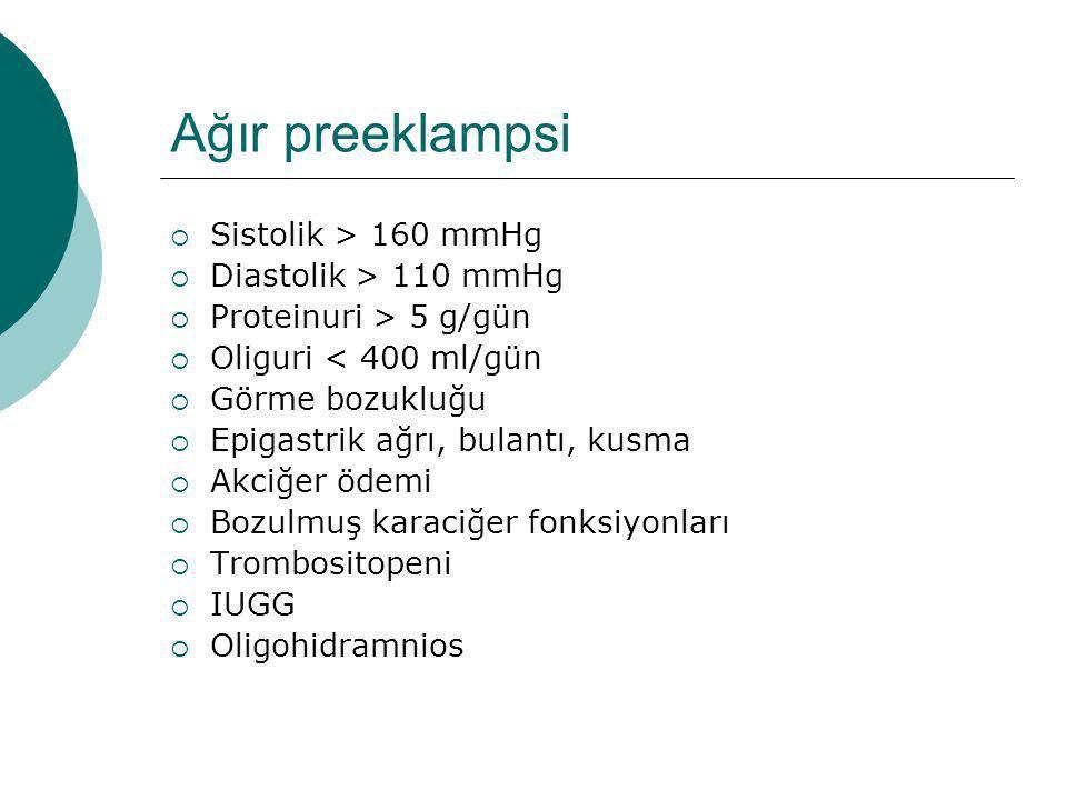 Ağır preeklampsi Sistolik > 160 mmHg Diastolik > 110 mmHg