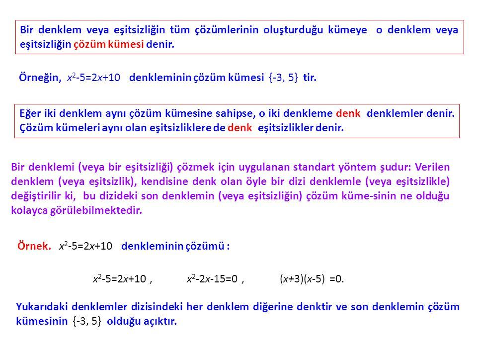 Bir denklem veya eşitsizliğin tüm çözümlerinin oluşturduğu kümeye o denklem veya eşitsizliğin çözüm kümesi denir.