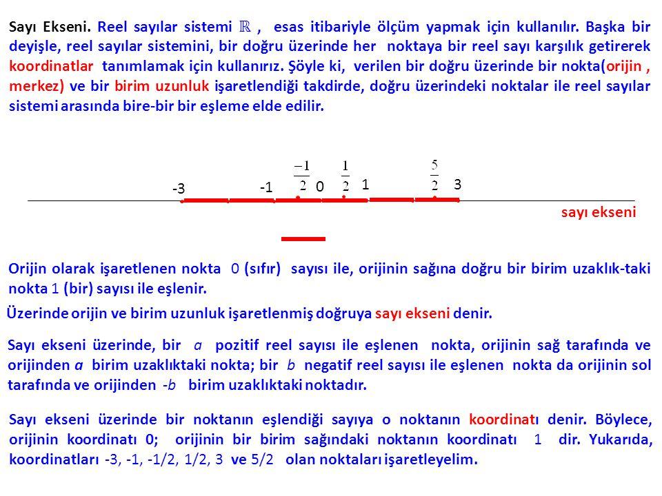 Sayı Ekseni. Reel sayılar sistemi ℝ , esas itibariyle ölçüm yapmak için kullanılır. Başka bir deyişle, reel sayılar sistemini, bir doğru üzerinde her noktaya bir reel sayı karşılık getirerek koordinatlar tanımlamak için kullanırız. Şöyle ki, verilen bir doğru üzerinde bir nokta(orijin , merkez) ve bir birim uzunluk işaretlendiği takdirde, doğru üzerindeki noktalar ile reel sayılar sistemi arasında bire-bir bir eşleme elde edilir.