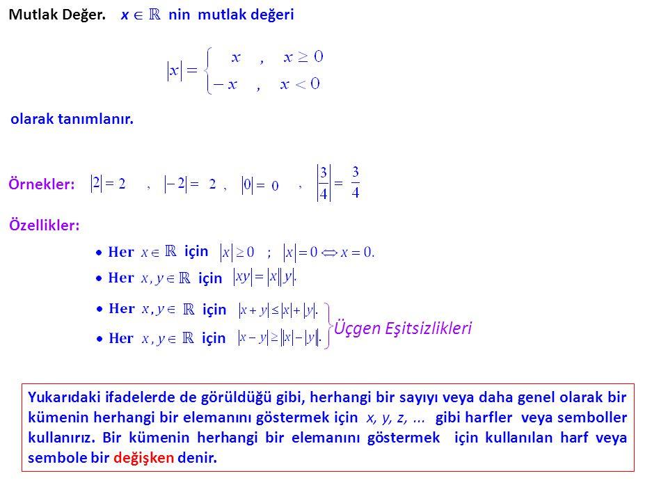 Üçgen Eşitsizlikleri Mutlak Değer. x  ℝ nin mutlak değeri