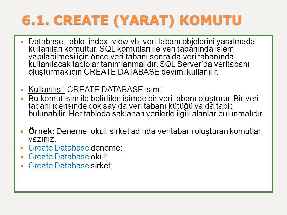 6.1. CREATE (YARAT) KOMUTU