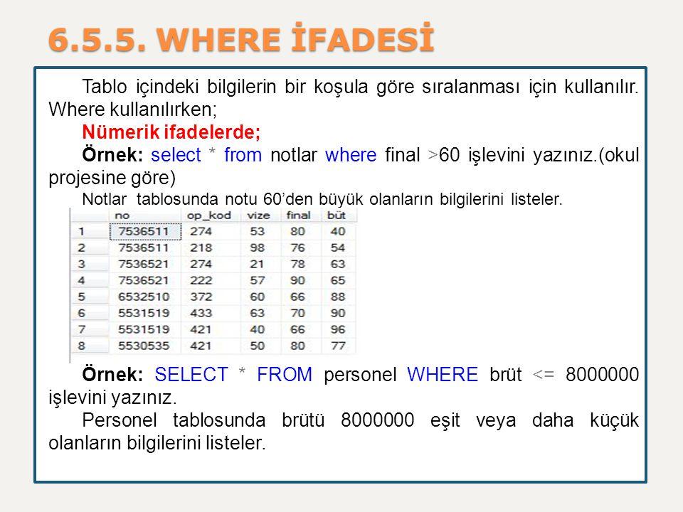 6.5.5. WHERE İFADESİ Tablo içindeki bilgilerin bir koşula göre sıralanması için kullanılır. Where kullanılırken;