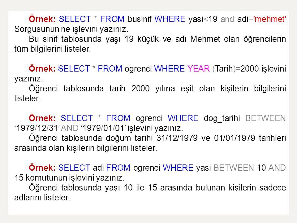 Örnek: SELECT * FROM businif WHERE yasi<19 and adi= mehmet Sorgusunun ne işlevini yazınız.