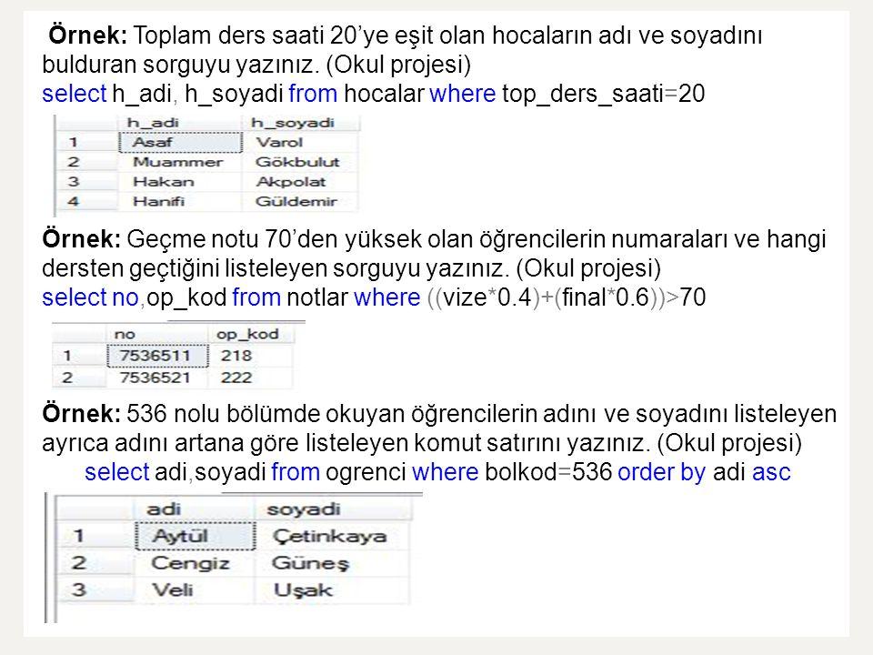 Örnek: Toplam ders saati 20'ye eşit olan hocaların adı ve soyadını bulduran sorguyu yazınız.