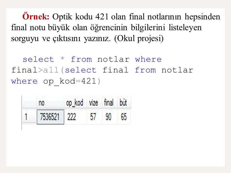 Örnek: Optik kodu 421 olan final notlarının hepsinden final notu büyük olan öğrencinin bilgilerini listeleyen sorguyu ve çıktısını yazınız. (Okul projesi)