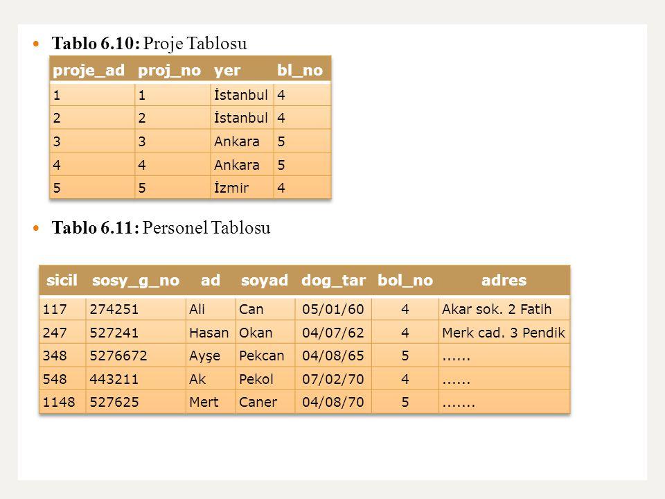 Tablo 6.11: Personel Tablosu