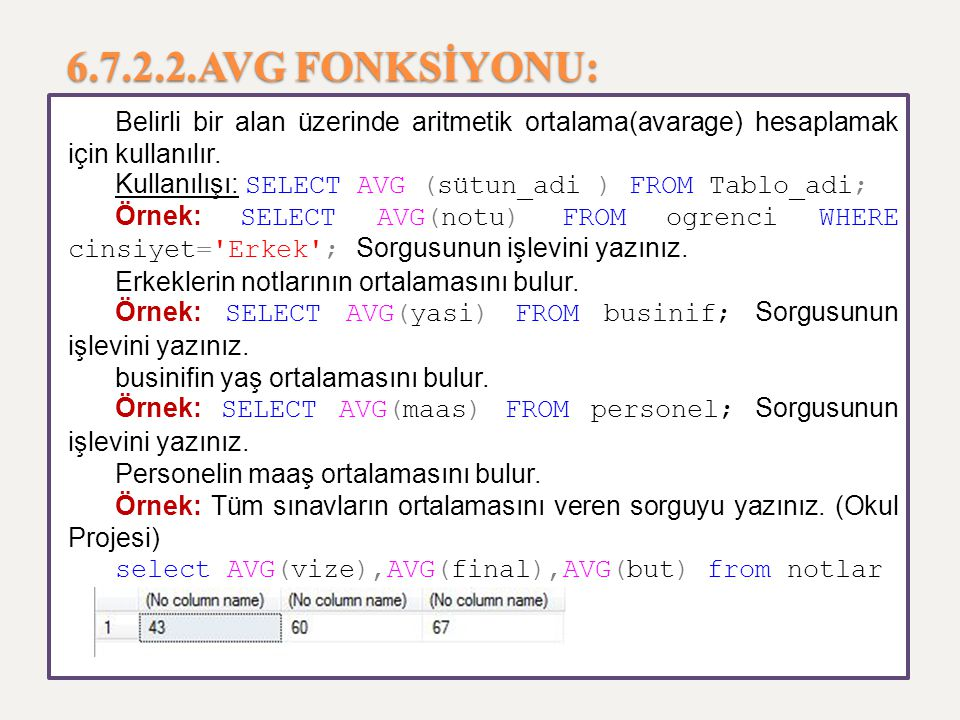 6.7.2.2.AVG FONKSİYONU: Belirli bir alan üzerinde aritmetik ortalama(avarage) hesaplamak için kullanılır.
