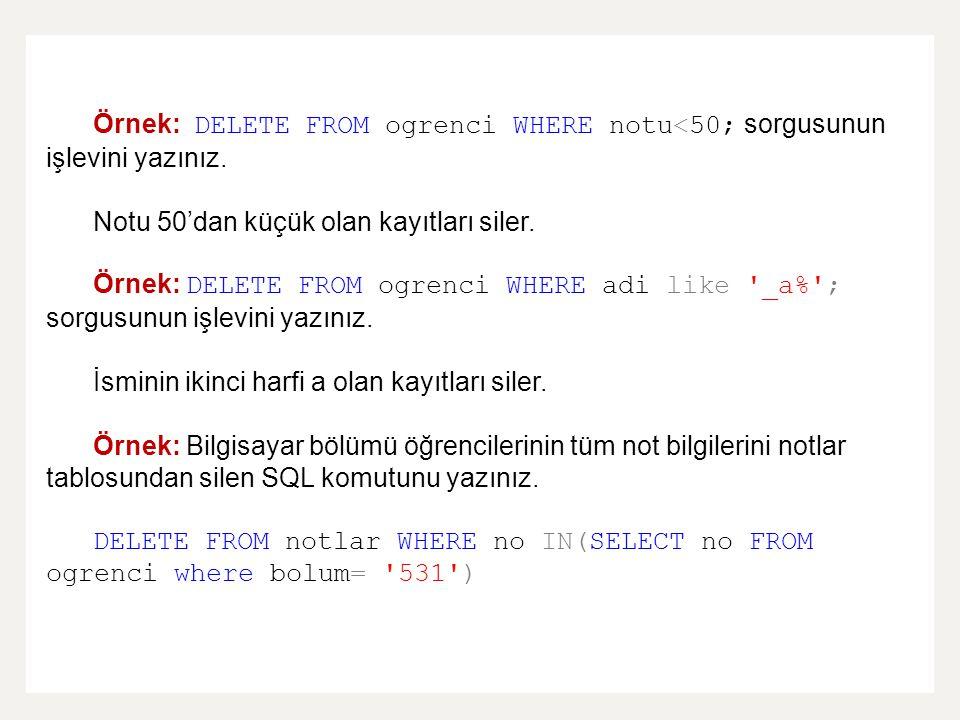 Örnek: DELETE FROM ogrenci WHERE notu<50; sorgusunun işlevini yazınız.