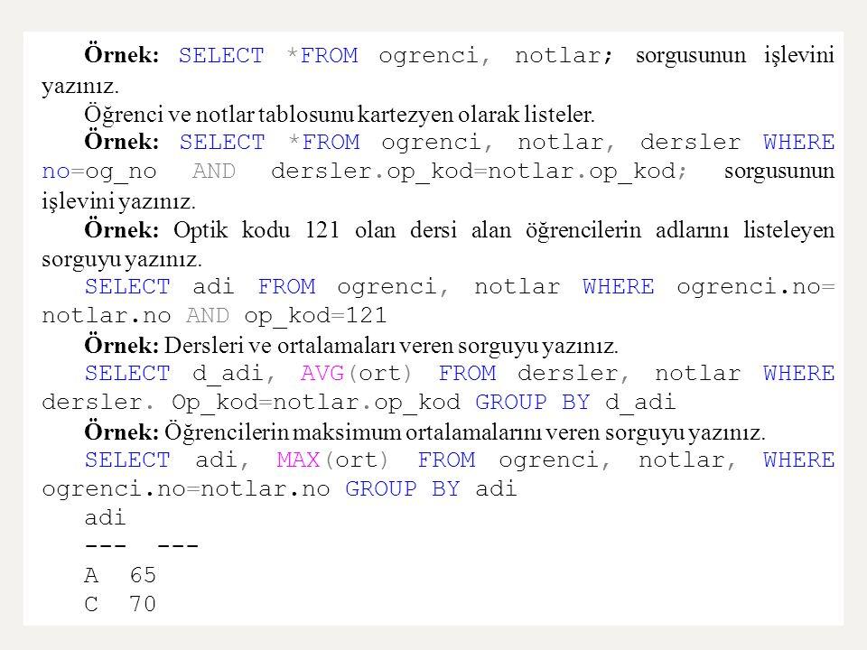 Örnek: SELECT *FROM ogrenci, notlar; sorgusunun işlevini yazınız.