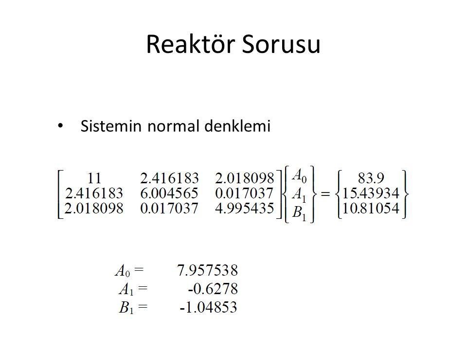 Reaktör Sorusu Sistemin normal denklemi